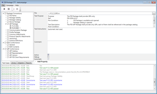 FDI Package IDE Test Tool Screencap